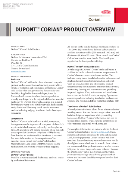 Corian® Solid Surface Product Overview