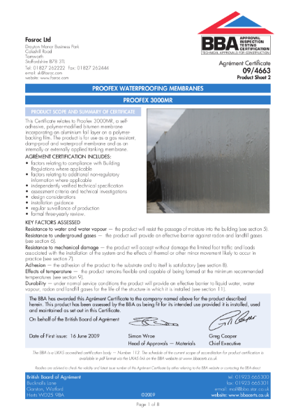 09/4663 Proofex waterproofing membranes - Proofex 3000MR - Product Sheet 2
