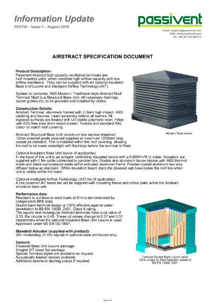 Passivent Specification Document - Airstract Roof Ventilation Terminal