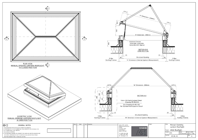 Manual Opening Lantern Rooflight