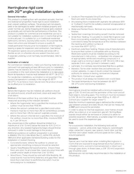 2G Herringbone Rigid Core Installation Guidelines
