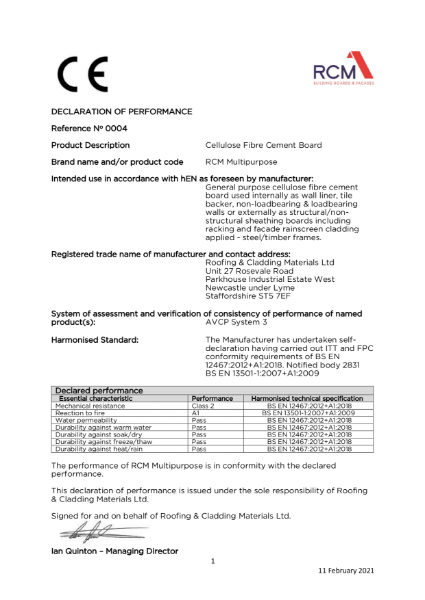 Declaration of Performance - Multipurpose