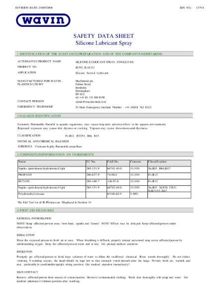MSDS - OSMA Silicone lubricant spray