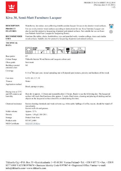 Kiva 30 - Matt Furniture Lacquer TDS