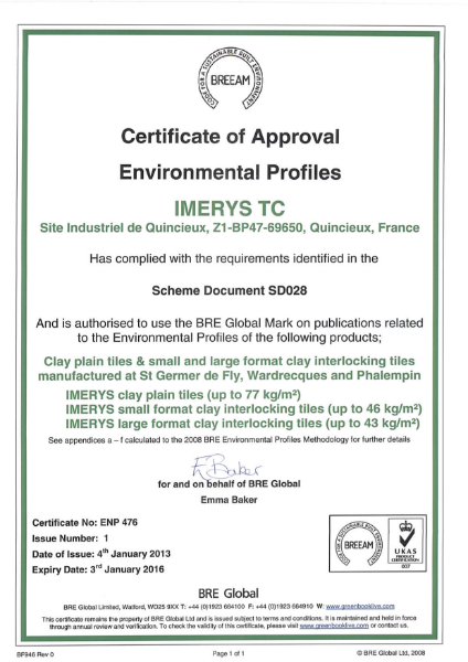 BREEAM Certificate of Approval