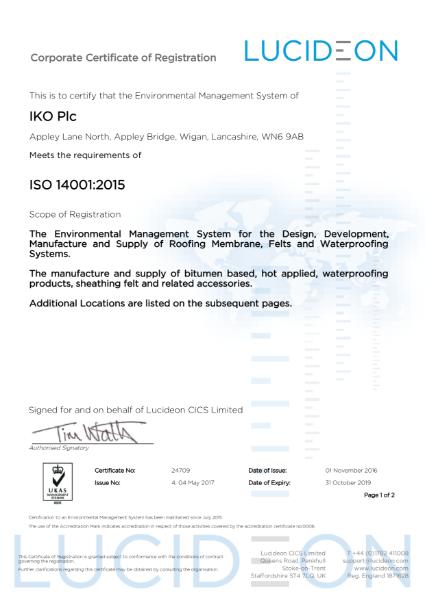 ISO 14001:2015 Certificate (Grangemill)
