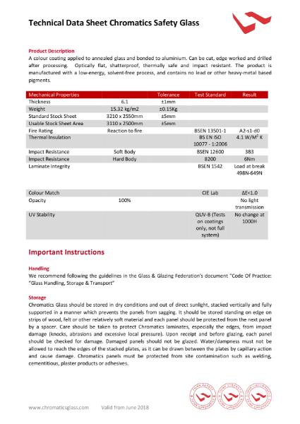 Chromatics Safety Glass data sheet