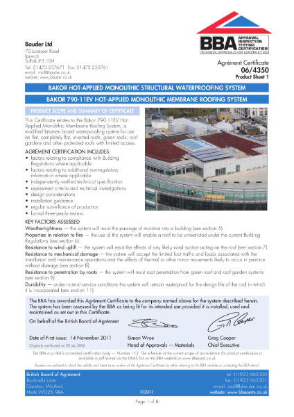 06/4350 Bakor Hot Applied Monolithic Structural Waterproofing System