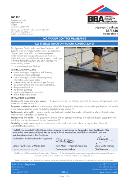 86/1640_1 IKO Systems Torch-On Vapour Control Layer