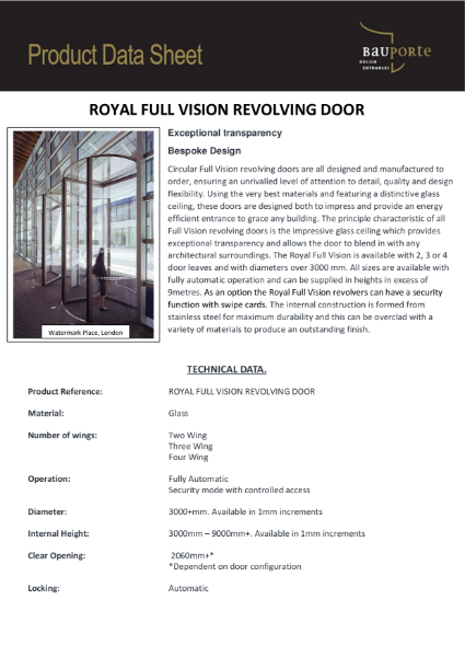 Bauporte Royal Full Vision Revolving Door