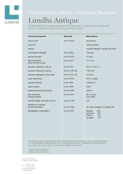Technical Data Sheet, Lundhs Antique EN Standard