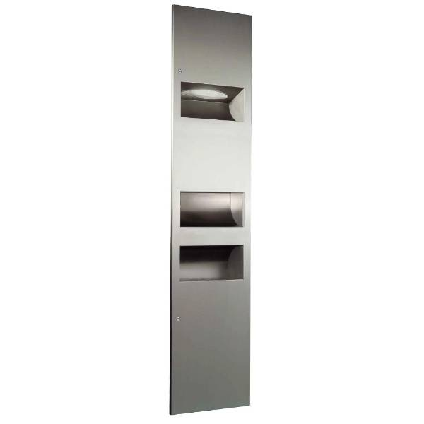 02.4031 Dolphin Recessed Combination Unit with High Speed Hand Dryer, Bin and Paper Towel Dispenser