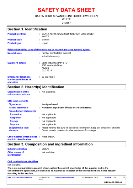 Baxta Xero Advanced Interior Low Sheen White  Safety Data Sheet