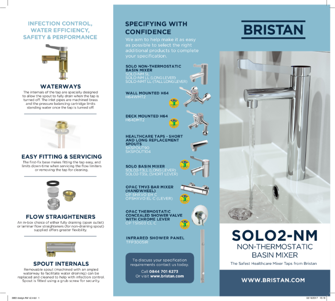 Solo Non Thermostatic Basin Mixer Leaflet
