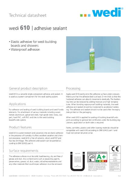 wedi 610 Adhesive TDS