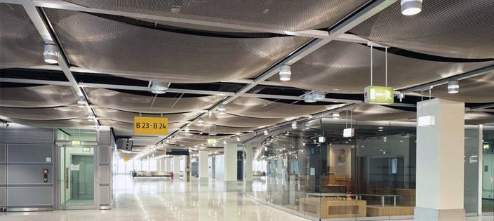 Woven wire mesh ceiling at Dusseldorf Airport