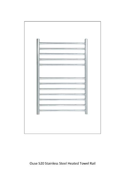 Ouse 520 Stainless Steel Heated Towel Rail Technical Sheet