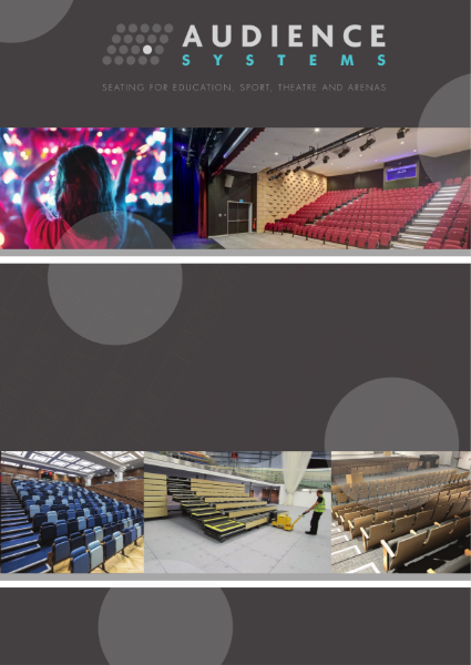Brochure for retractable seating, removable seating, auditorium seating, lecture theatre seating, sports seating, stacking chairs and staging