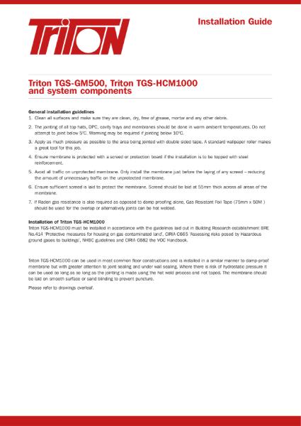 Triton Systems Gas Barrier Membrane Installation Guide