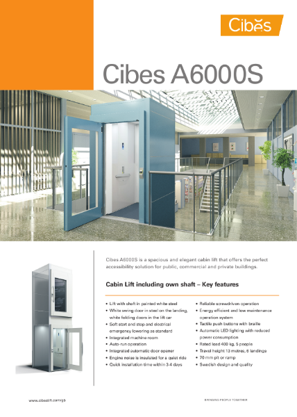 Cibes A6000 Cabin Lift with Sliding Doors