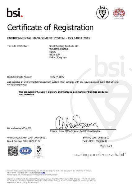BSI Certificate of Registration ISO 14001:2015