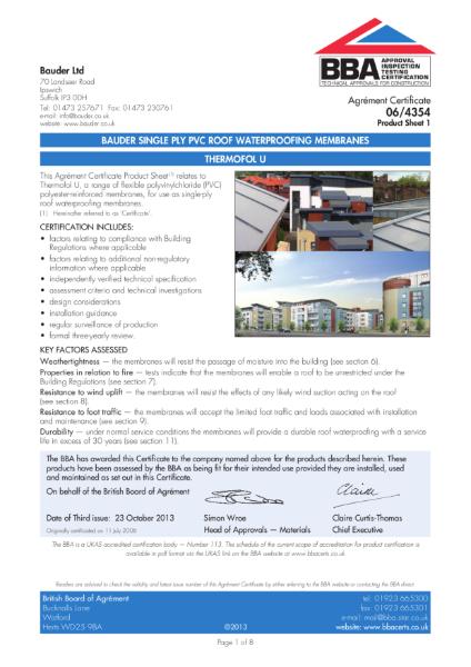 Bauder Thermofol U roof waterproofing membrane
