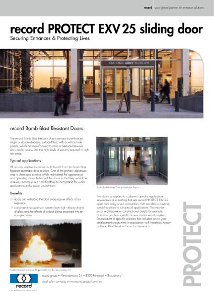 record PROTECT EXV 25 Bomb Blast Resistant Doors