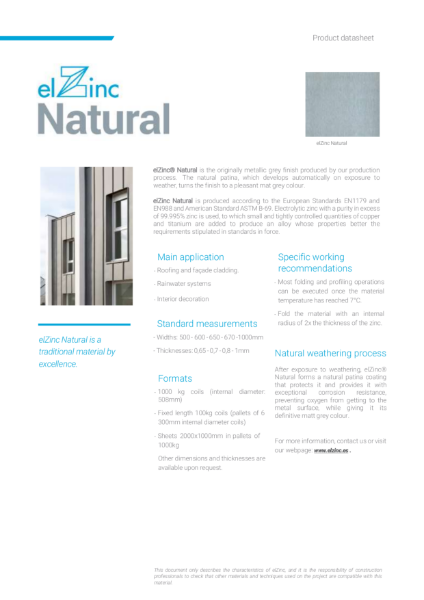 elZinc Natural Zinc Datasheet