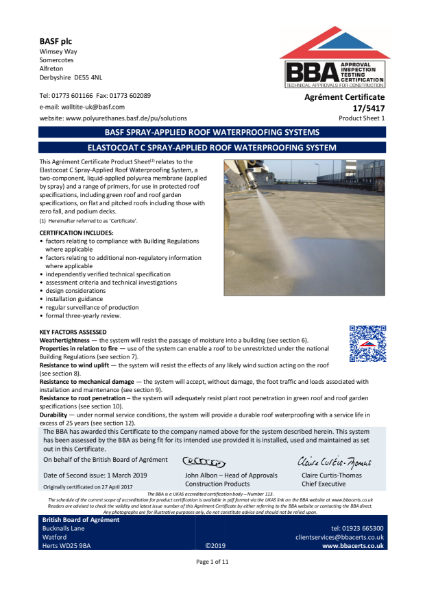 17/5417 ELASTOCOAT C SPRAY-APPLIED ROOF WATERPROOFING SYSTEM