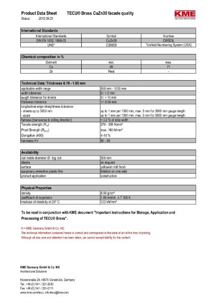 KME TECU Brass Copper Datasheet