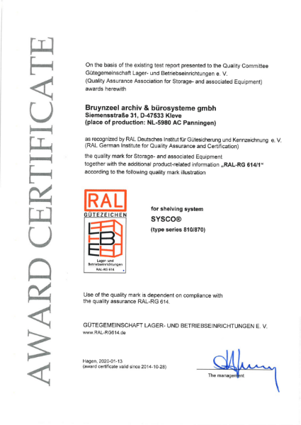 RAL certificate Sysco®