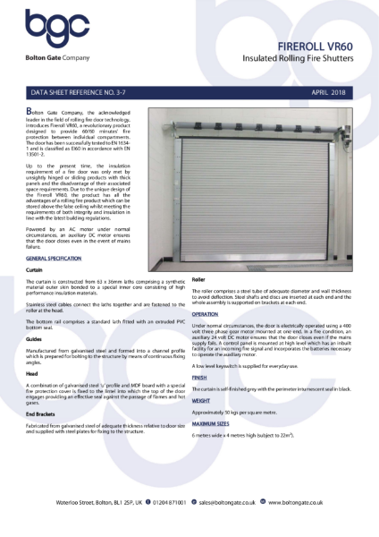 Fire Shutter - Fireroll VR60 One Hour Insulated Rolling Fire Shutters