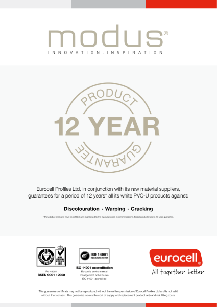 Modus 12 Year Product Guarantee Certificate