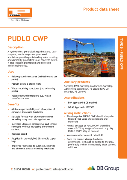 PUDLO Waterproof Concrete Data Sheet
