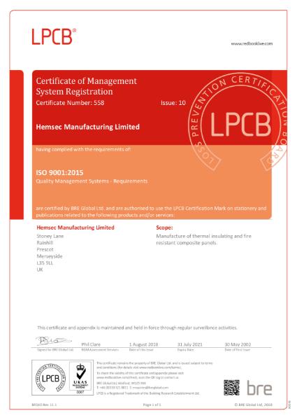 Hemsec LPCB ISO 9001 : 2015 Certificate