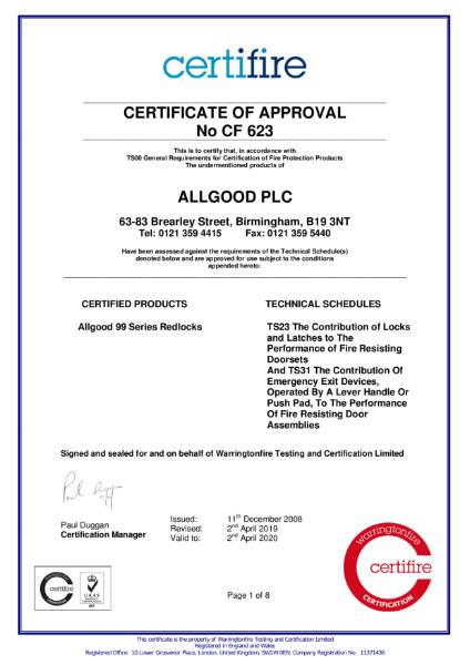 Certifire Certificate CF 623