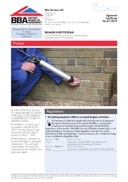Sikamur-Injectocream remedial damp-proof course