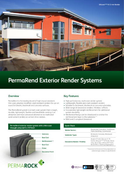 PermaRend High Performance Exterior Render Systems (high impact-resistant,  lightweight, flexible, thin-coat, polymer-modified, crack resistant renders)