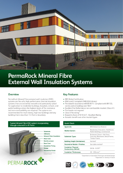 PermaRock Mineral Fibre External Wall Insulation Systems (incorporating non-combustible insulation with systems tested to EN 13501-1:2007 + A1:2009)
