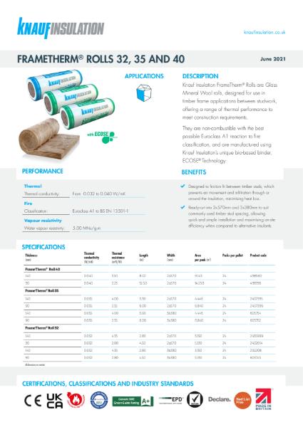 Knauf Insulation FrameTherm Rolls 32 Insulation Data Sheet