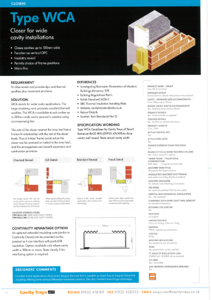 Cavity Trays Ltd Type WCA wide cavity insulated cavity closer