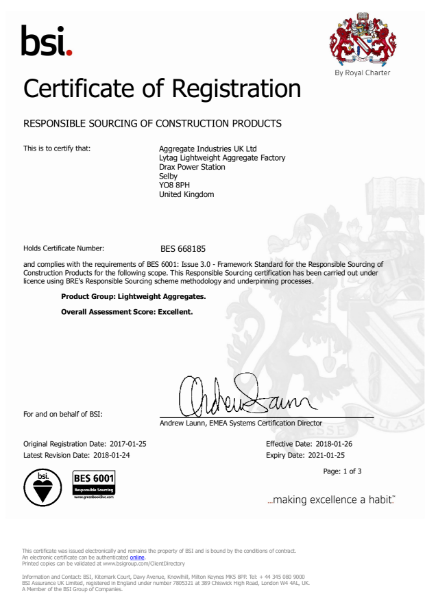 BSI Certification of Registration