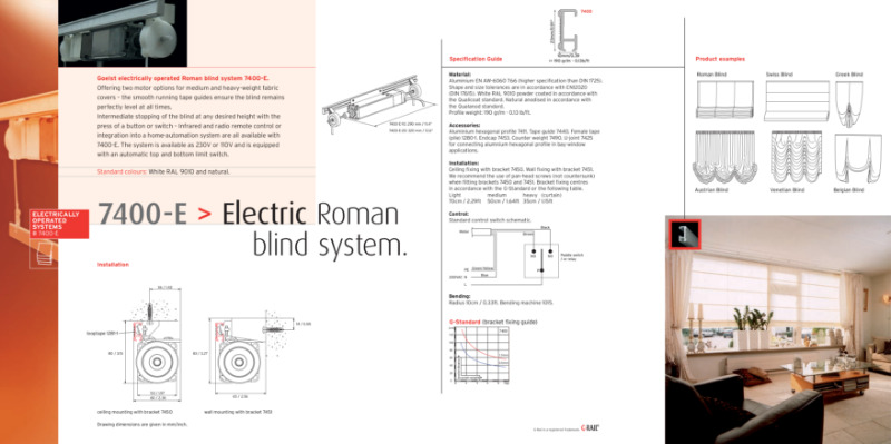 G-Rail electric Roman blind system