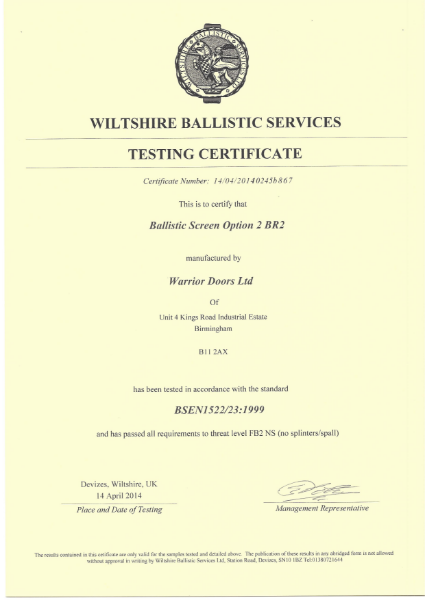Ballistic Test Certificate Screen Option 2 BR2