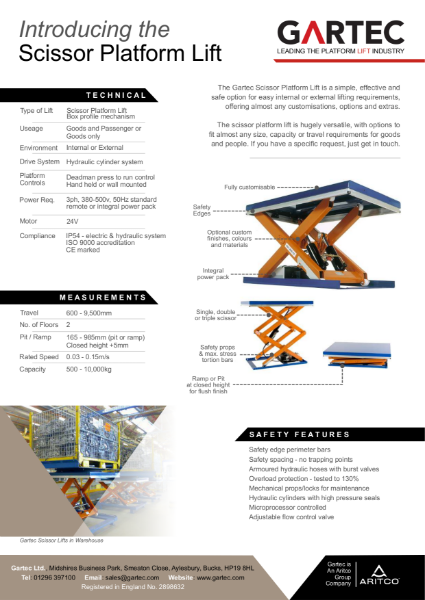 Gartec Scissor Platform Lift
