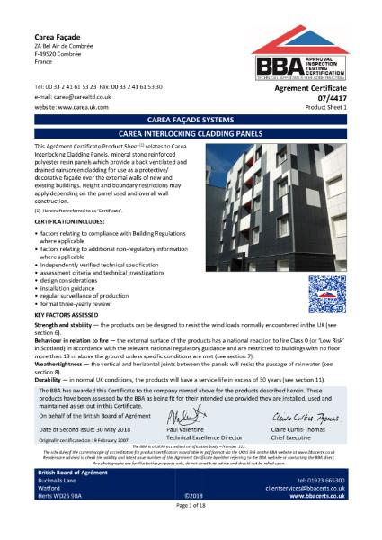 07/4417 Carea Interlocking Cladding Panels