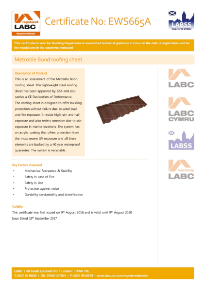 LABC Metrotile Bond Roofing Sheet Certificate