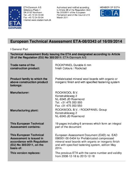 European Technical Assessment ETA-08/0343 Certificate
