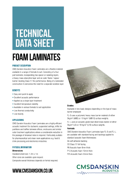 CMS Danskin Acoustics Foam Laminates TDS