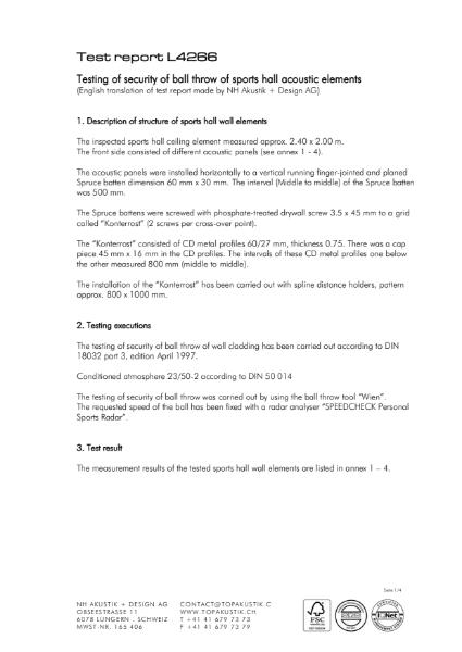 Sports Hall Testing Report L